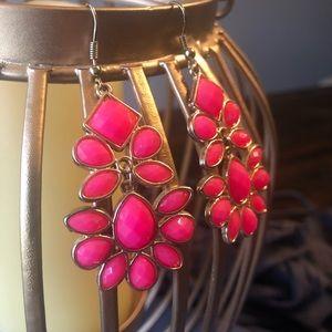 🌺Pink & Gold Drop Earrings